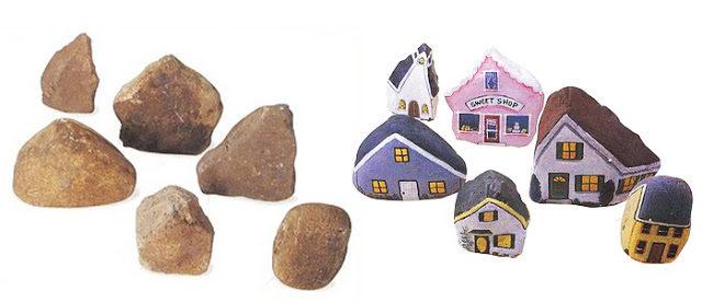 Ζωγραφίζοντας σπίτια επάνω σε πέτρες! Μοναδικά χειροποίητα διακοσμητικά!