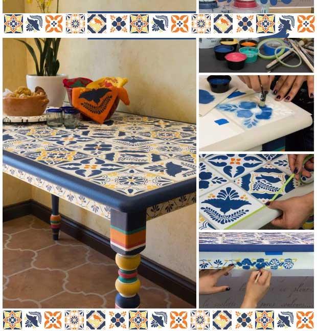 Πώς να φτιάξετε ένα τραπέζι με στένσιλ πλακάκια τύπου Talavera