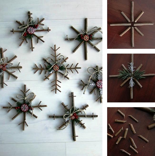 Χριστουγεννιάτικα στολίδια με κλαδιά