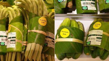 Σούπερ Μάρκετ στην Ασία χρησιμοποιεί συσκευασία από φύλλα μπανάνας αντί για πλαστικό