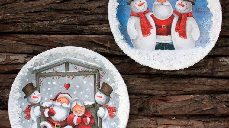 Χριστουγεννιάτικα πιάτα με ντεκουπάζ