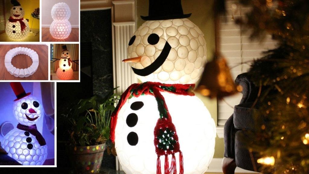 Πώς να φτιάξεις έναν χιονάνθρωπο από πλαστικά ποτηράκια!