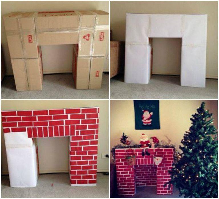 Χριστουγεννιάτικη διακόσμηση: Φτιάξε ένα Χριστουγεννιάτικο ψεύτικο τζάκι από Χαρτόνι